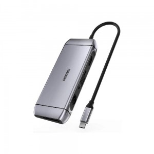 CHOETECH HUB-M15 Gray USB-C 9w1 4K 100W Power Delivery LAN 3xUSB 3.0 SD/TF